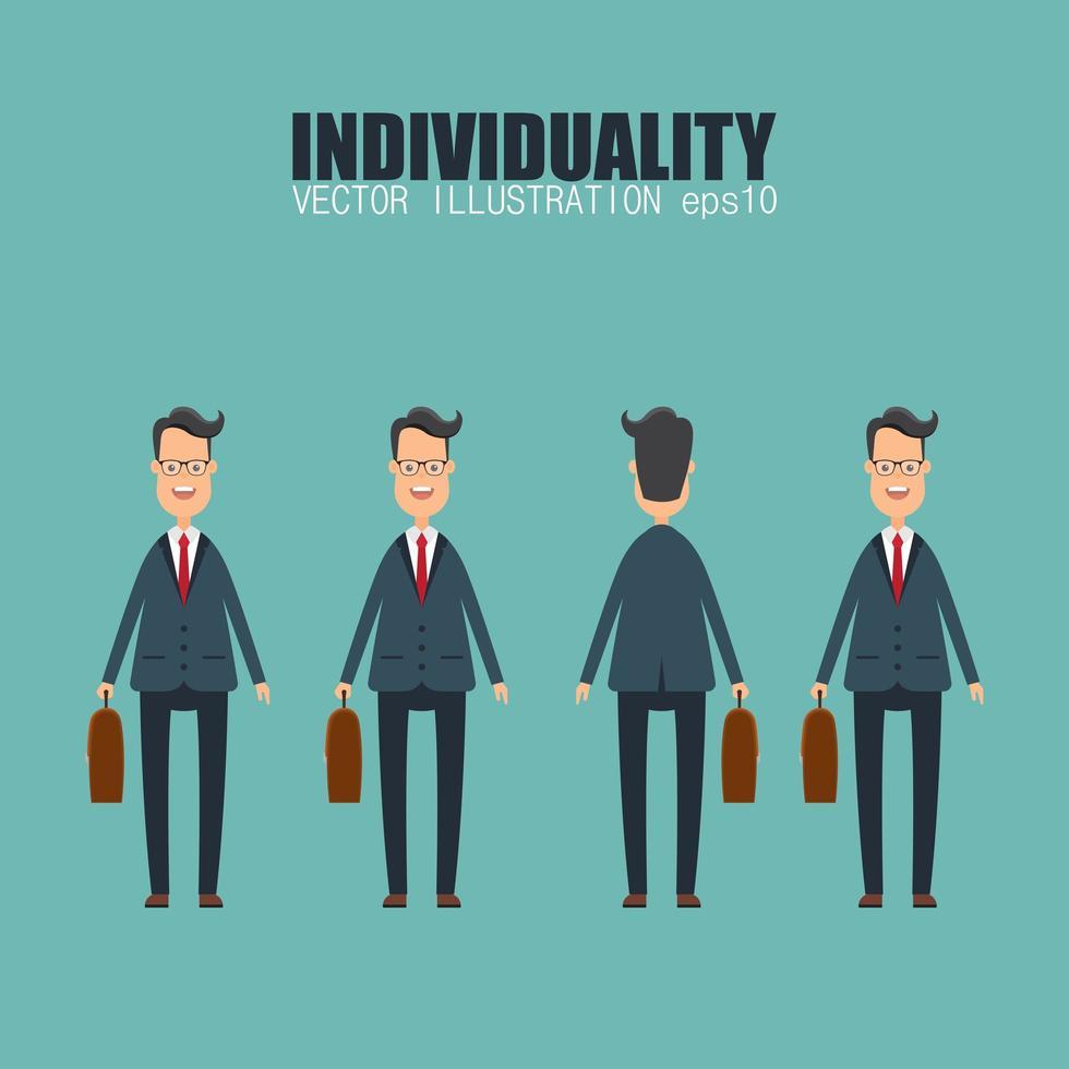 conceito de individualidade com empresário vetor