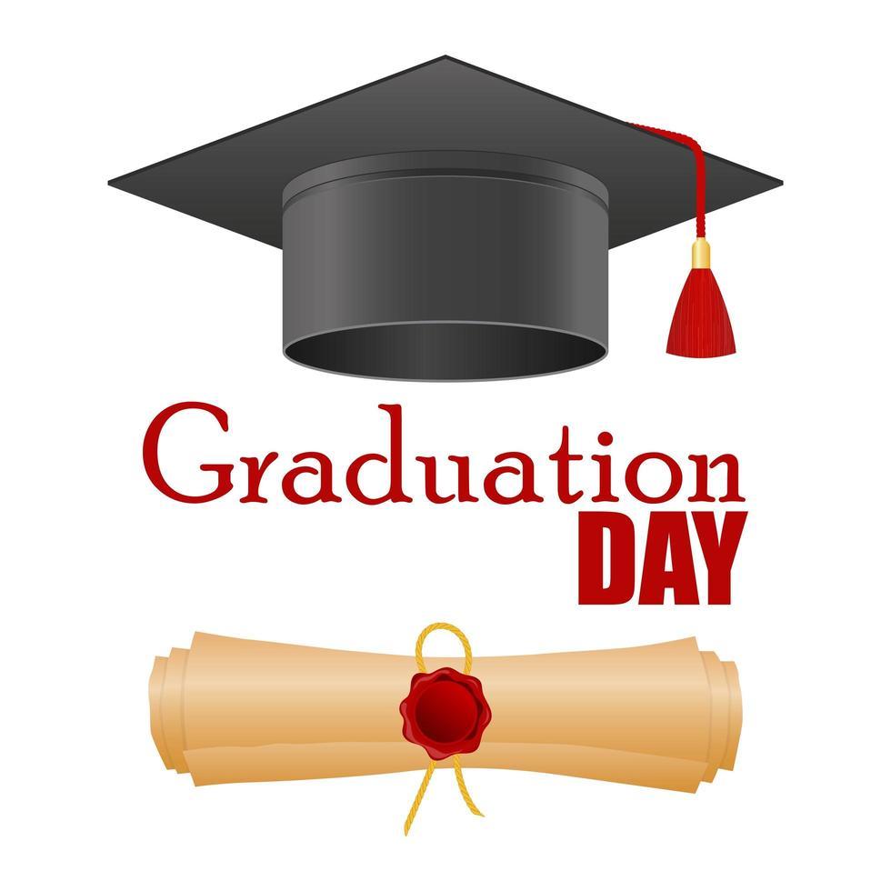 chapéu de formatura e diploma isolados vetor