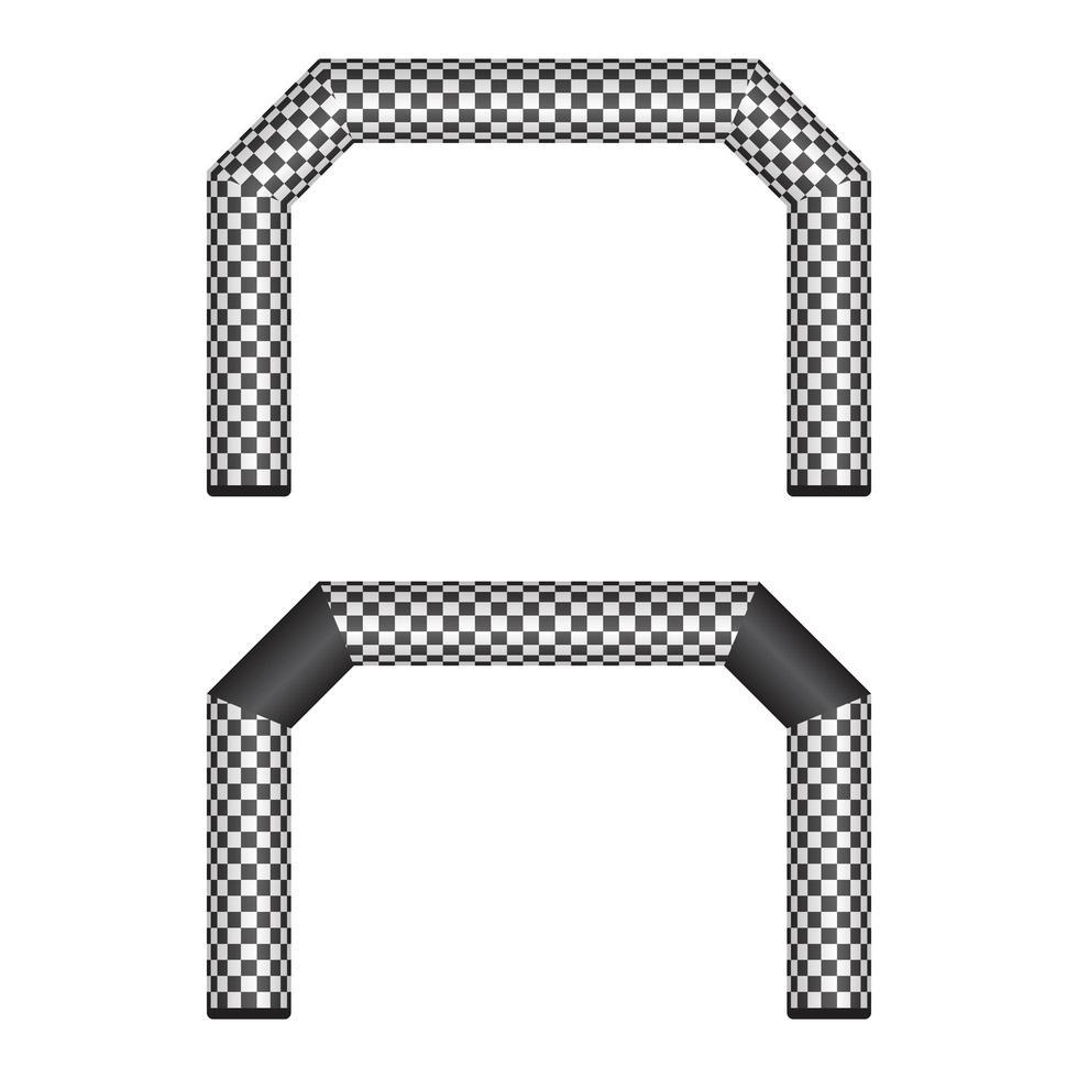 linha de chegada xadrez inflável isolada vetor