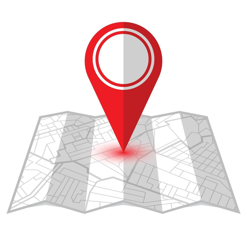 pino de localização vermelho no mapa do navegador vetor