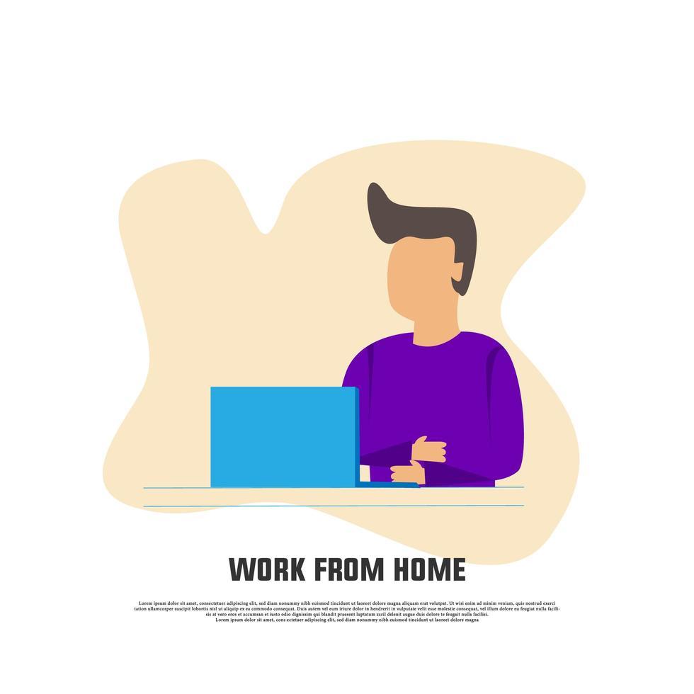 trabalhar em casa design plano vetor