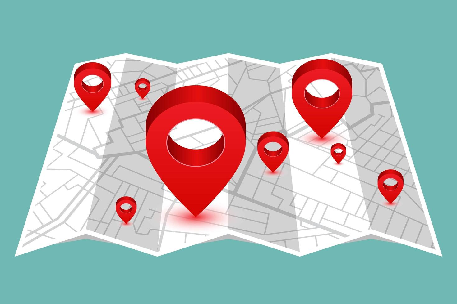 alfinete mostrando a localização no mapa dobrável vetor