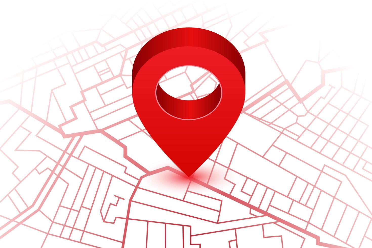 mapa com pino de localização vetor
