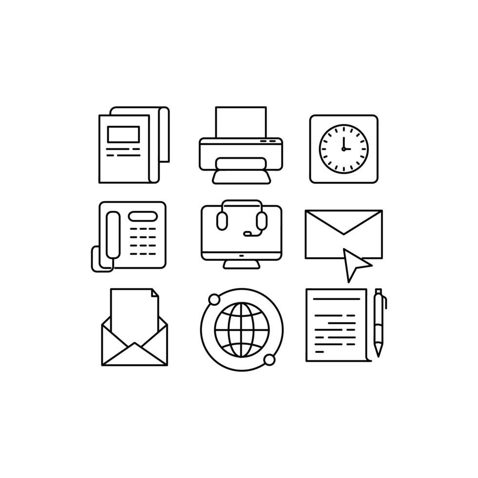 ícones de linha de negócios em fundo branco vetor