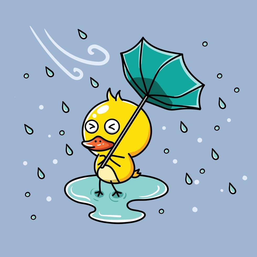 pato na chuva com guarda-chuva invertido vetor
