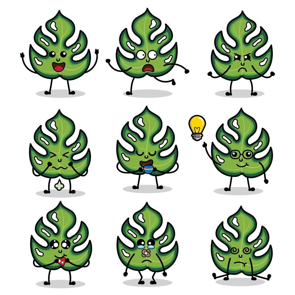 personagens Monstera Leaf com várias expressões vetor