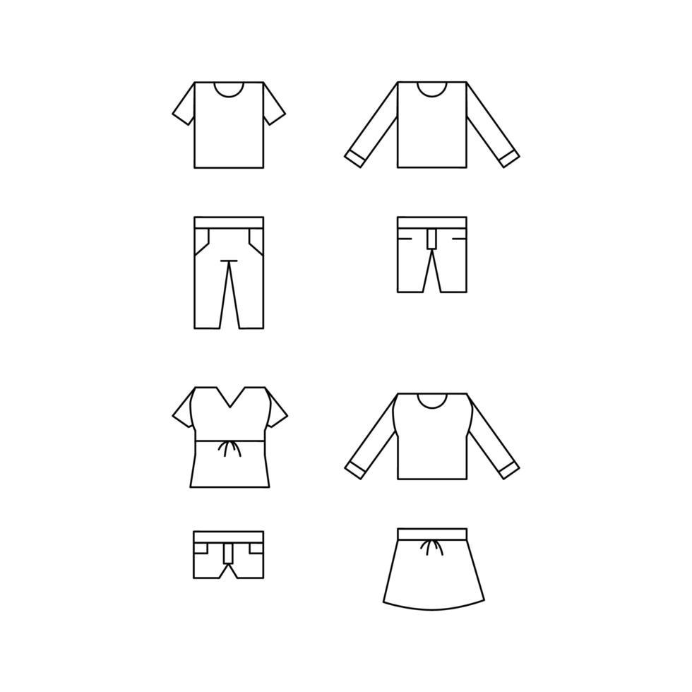 ícones de roupas de linha para masculino e feminino definidos em branco vetor