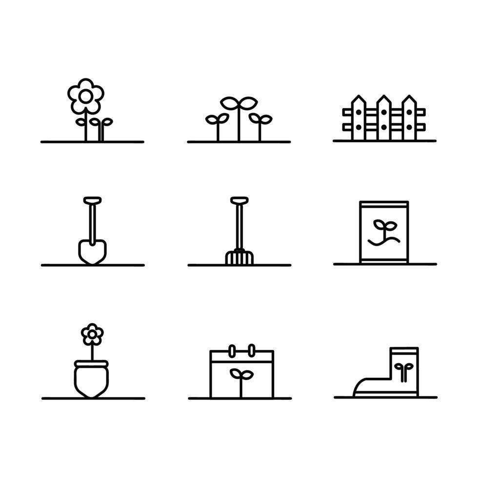 conjunto de ícones de linha de jardim definido em branco vetor