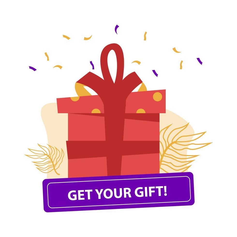 caixa de presente com botão '' pegue seu presente '' em branco vetor