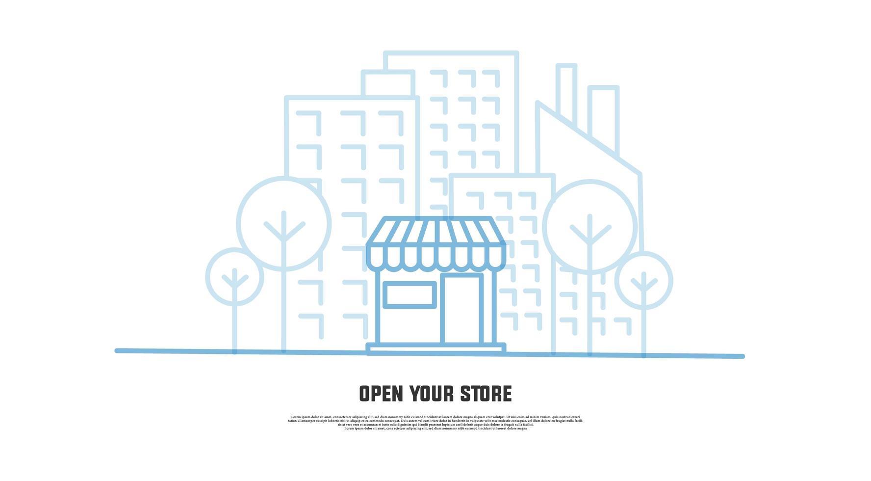 banner '' abra sua loja '' para site de comércio eletrônico, aplicativo vetor