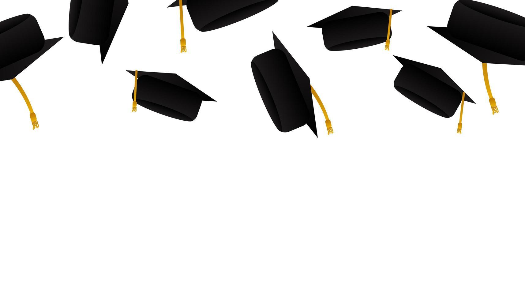 voando bonés de pós-graduação em fundo branco vetor