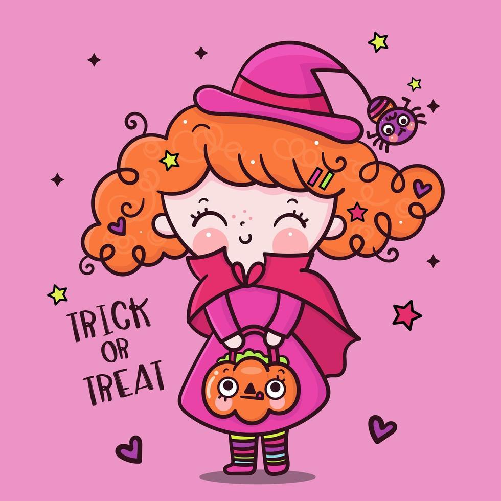 bruxa menina fofa de halloween com suporte para doces de abóbora vetor