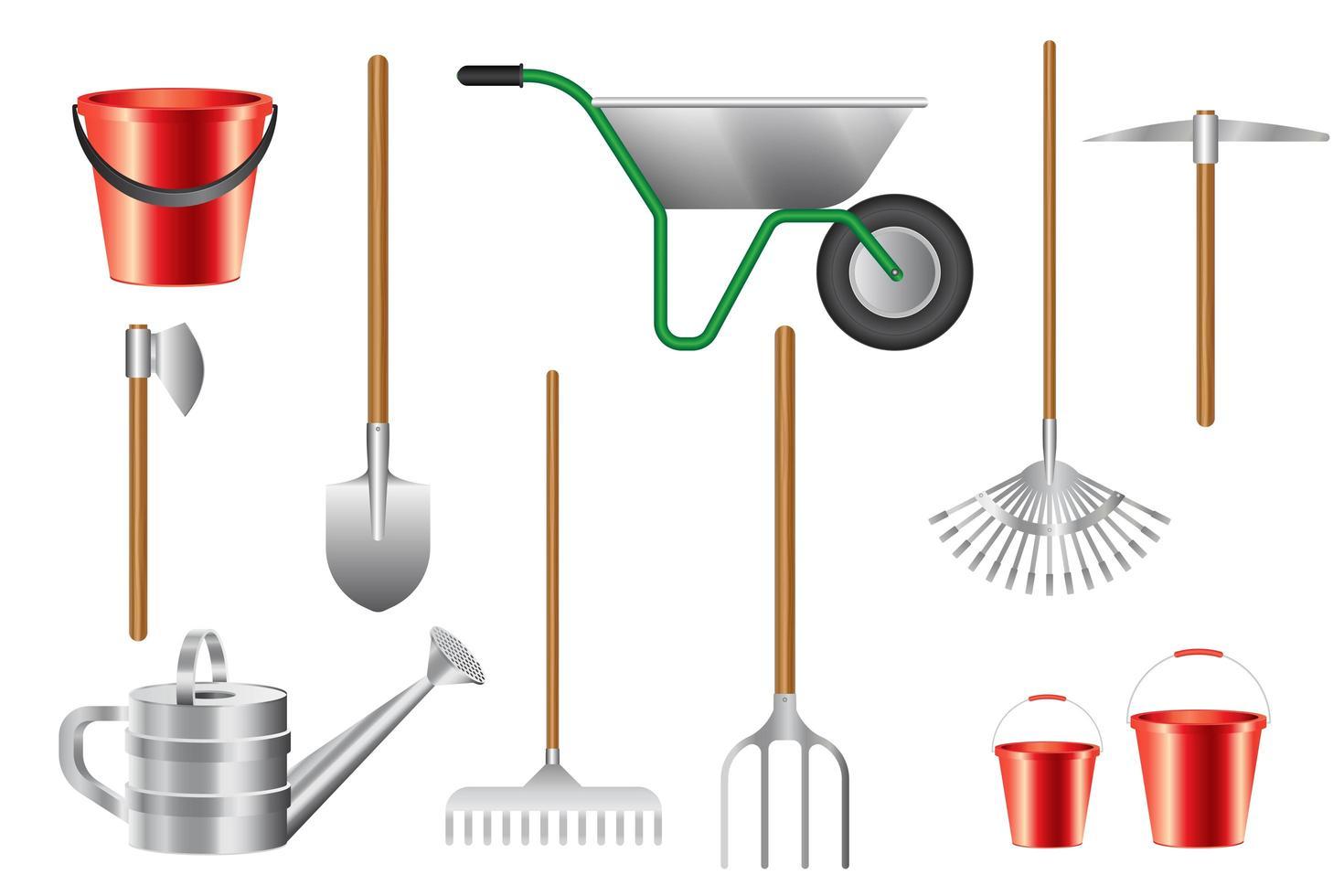 colección de herramientas de jardinería aisladas vector