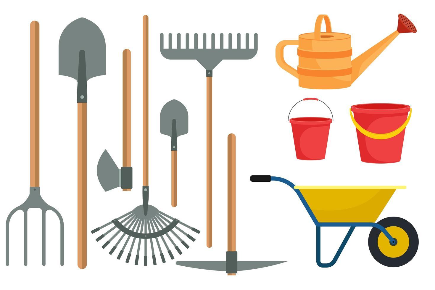 ferramentas de jardinagem definidas em design plano isolado vetor