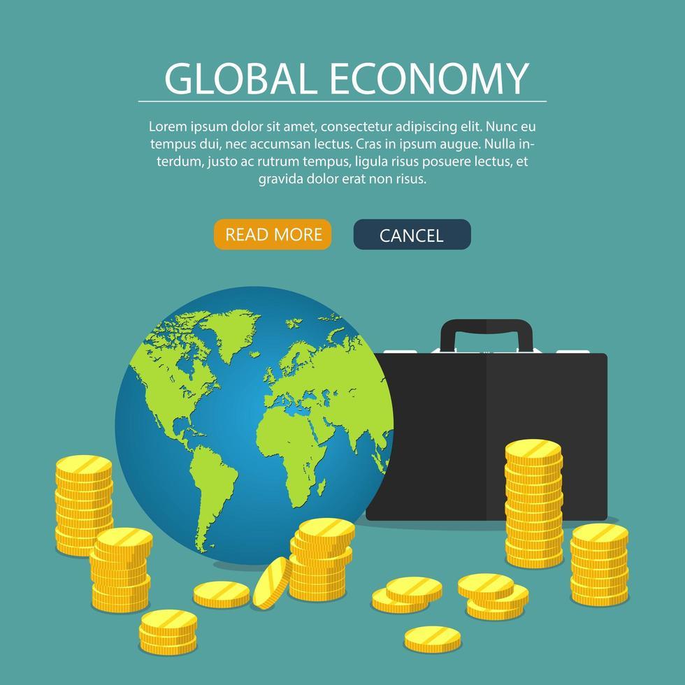 conceito de economia global e maleta vetor
