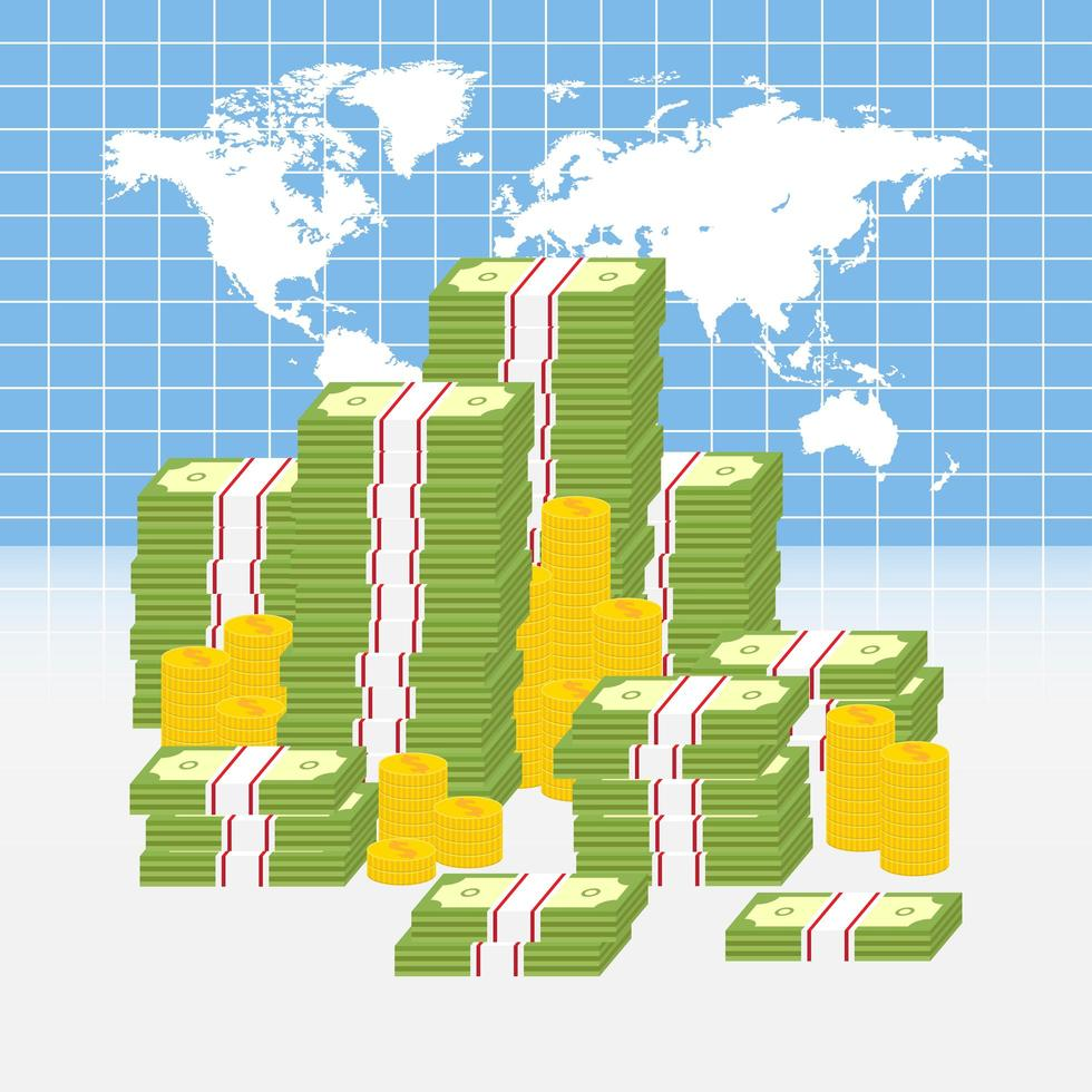 mapa mundial com pilhas de dinheiro vetor
