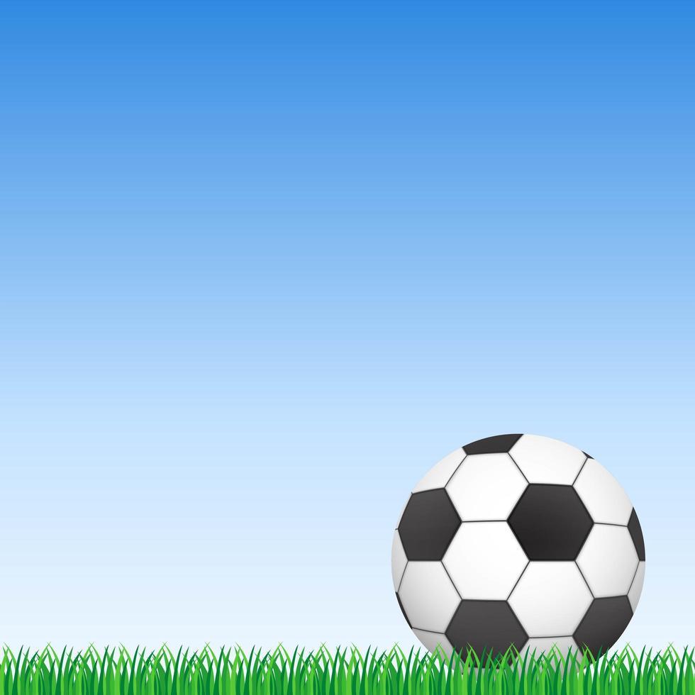 bola de futebol na grama verde e céu azul vetor