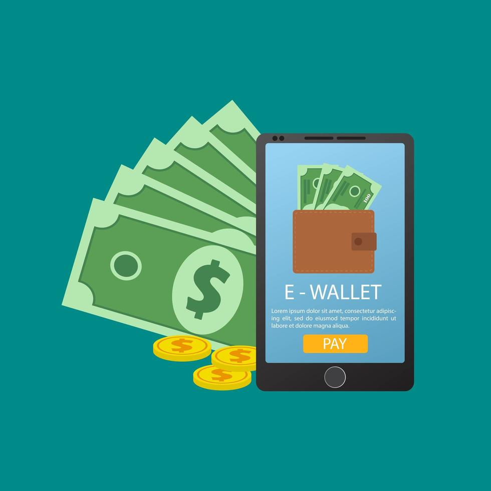 conceito de celular e carteira online vetor