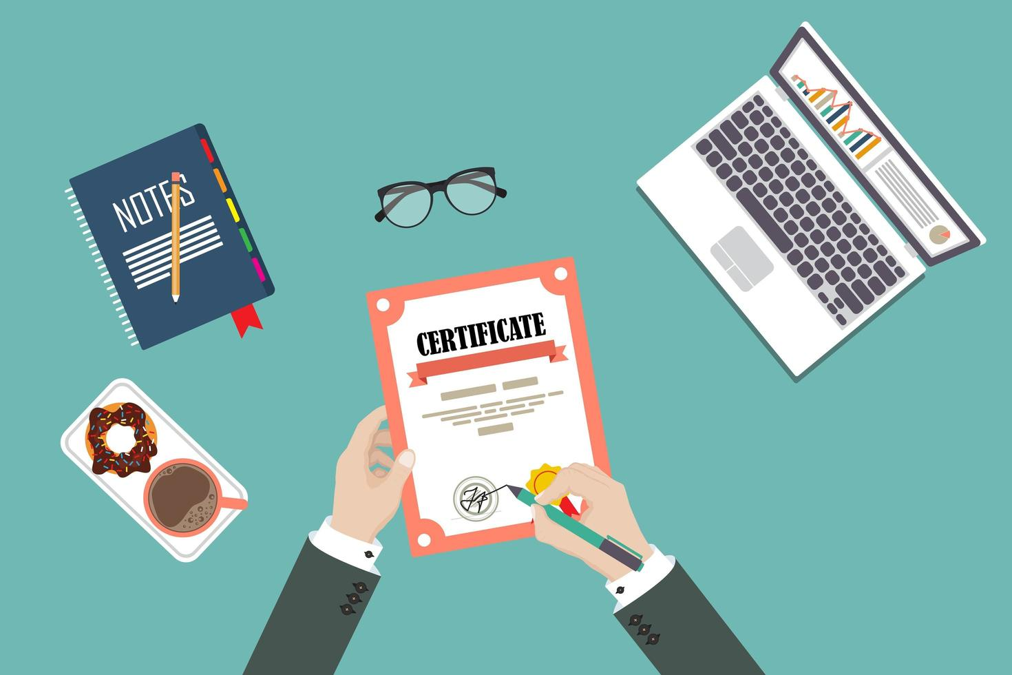 mão de homem assinando certificado com suprimentos vetor