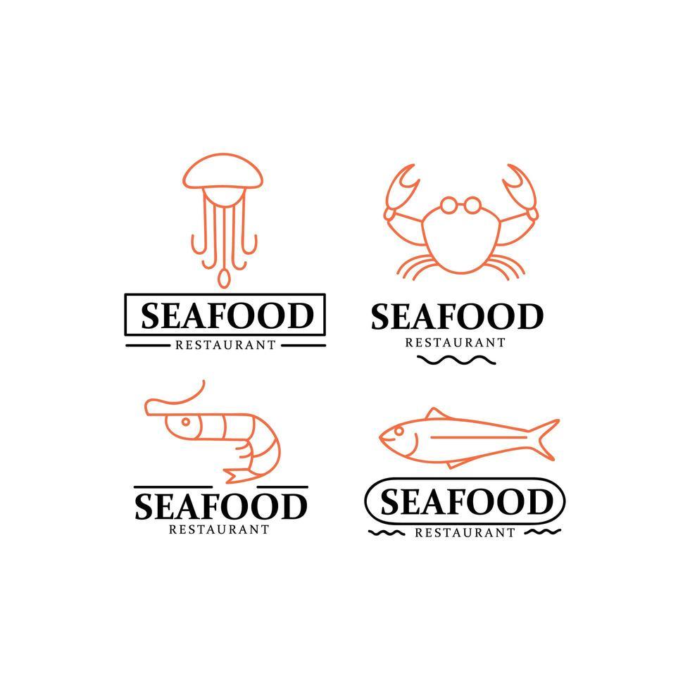 coleção de design de logotipo de frutos do mar vetor
