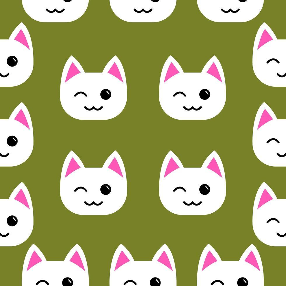 gato branco piscando padrão sem emenda vetor