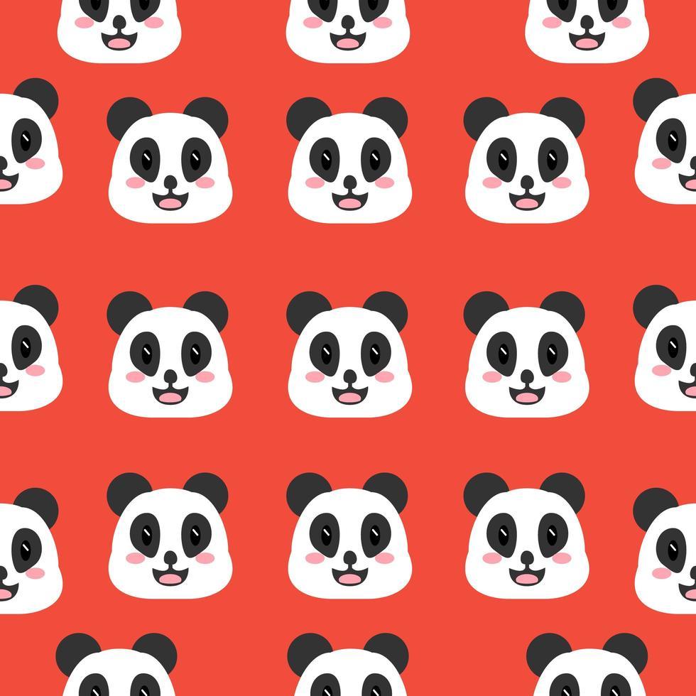 padrão de rosto de panda sorridente vetor