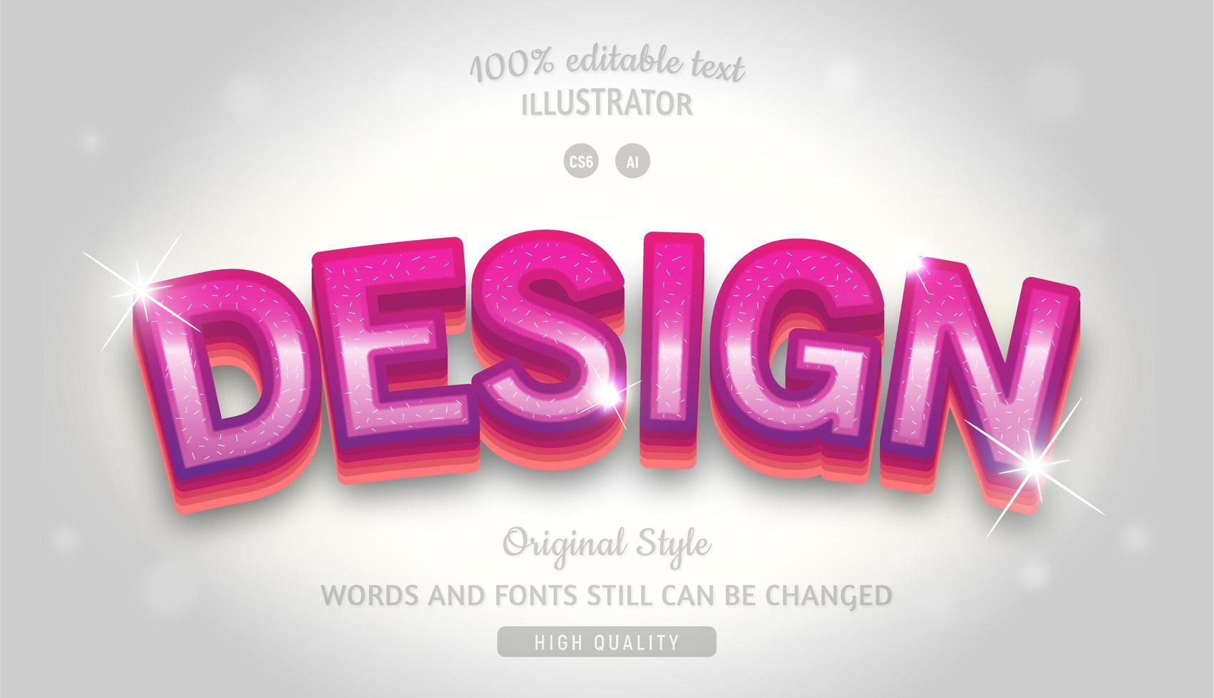 estilo de texto em camadas gradiente editável com brilhos vetor