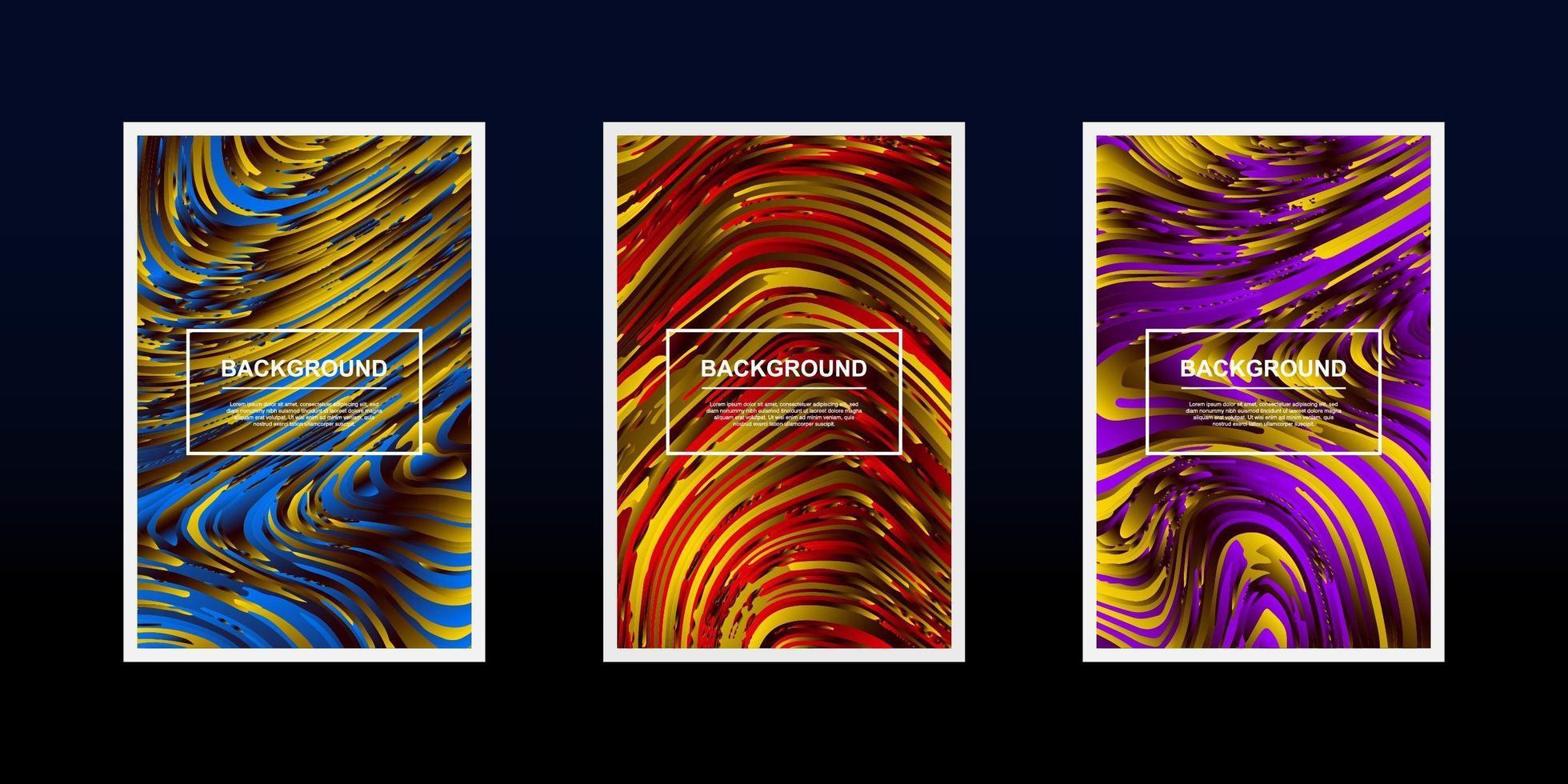 conjunto de desenhos de onda de linha texturizada em cor amarela vetor