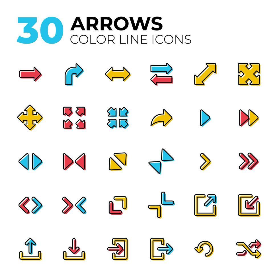 conjunto de ícones de setas coloridas vetor