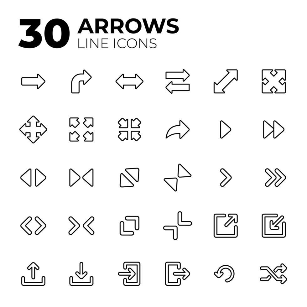 conjunto de ícones de seta de estilo de linha vetor