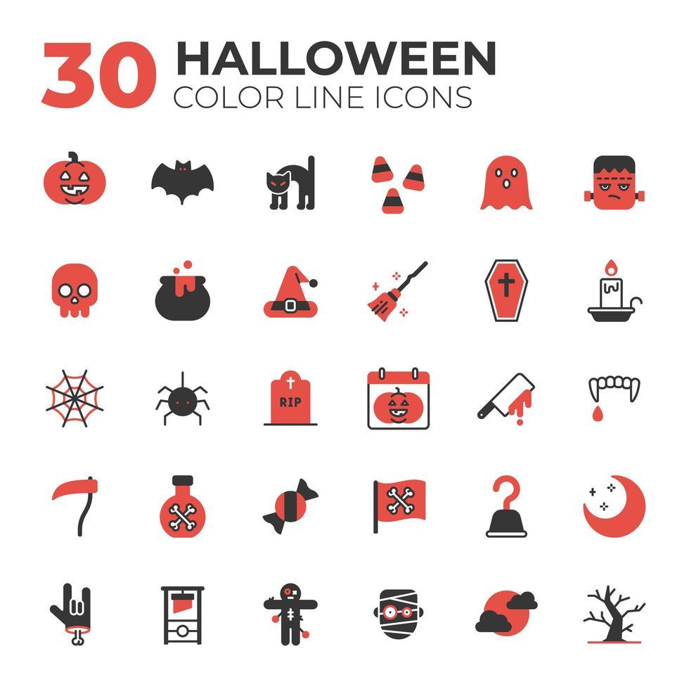 conjunto de iconos de halloween rojos y negros vector