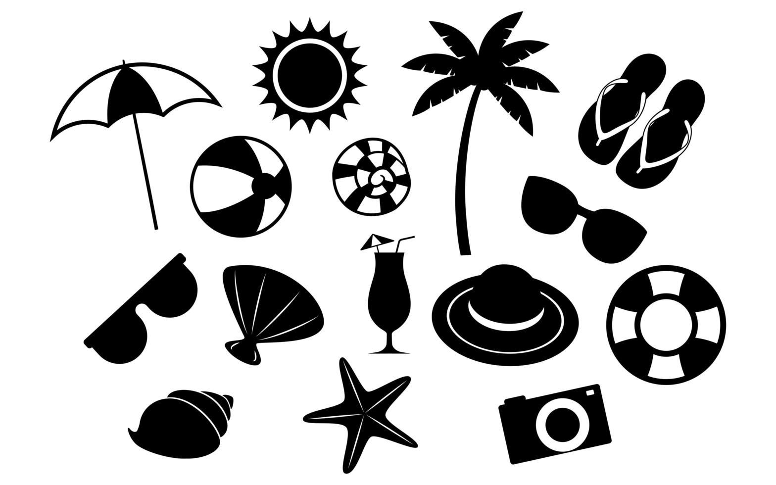 ícones de verão e praia vetor