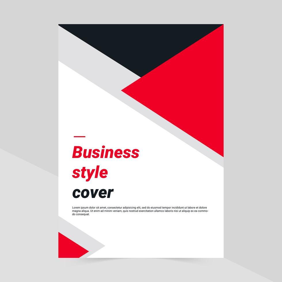 capa de negócios triângulo vermelho, cinza e preto vetor