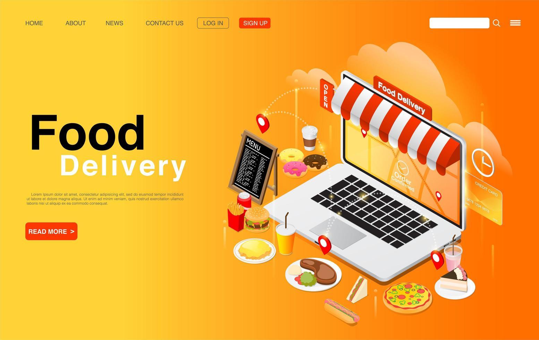 pedindo comida online na página de destino do laptop vetor