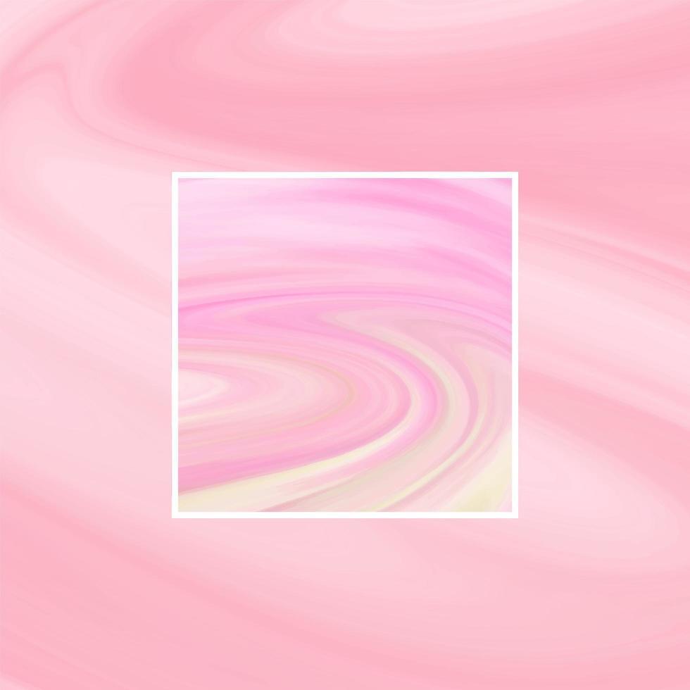 cor pastel de mármore líquido abstrato com moldura retangular vetor