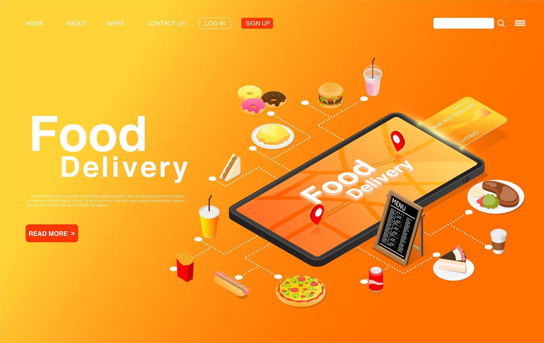 pedido isométrico de comida online na página de destino do celular vetor