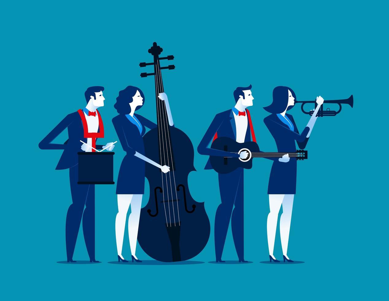 equipe de negócios tocando instrumentos vetor