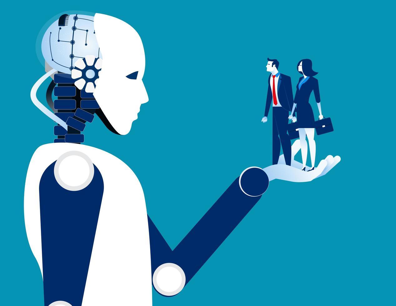 empresários humanos em mãos robóticas vetor