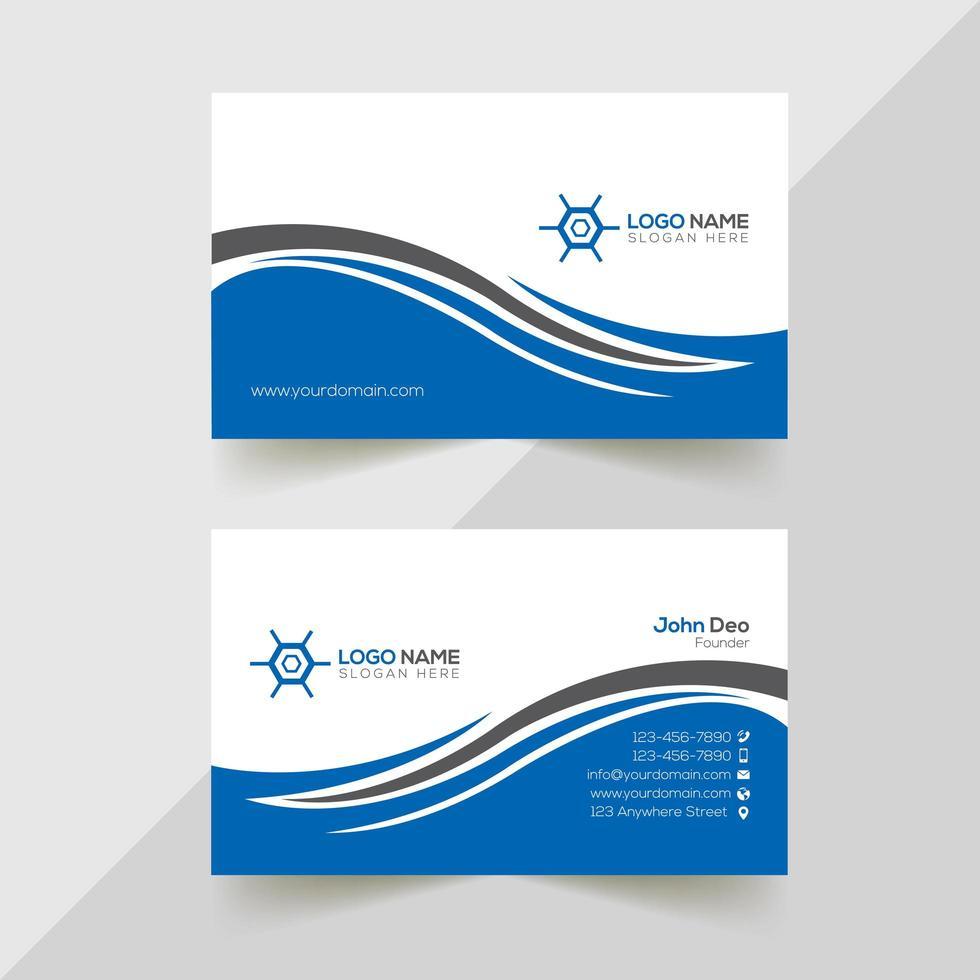 cartão de visita corporativo em forma de onda cinza e azul vetor