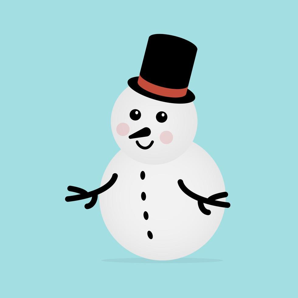 boneco de neve com cartola azul vetor