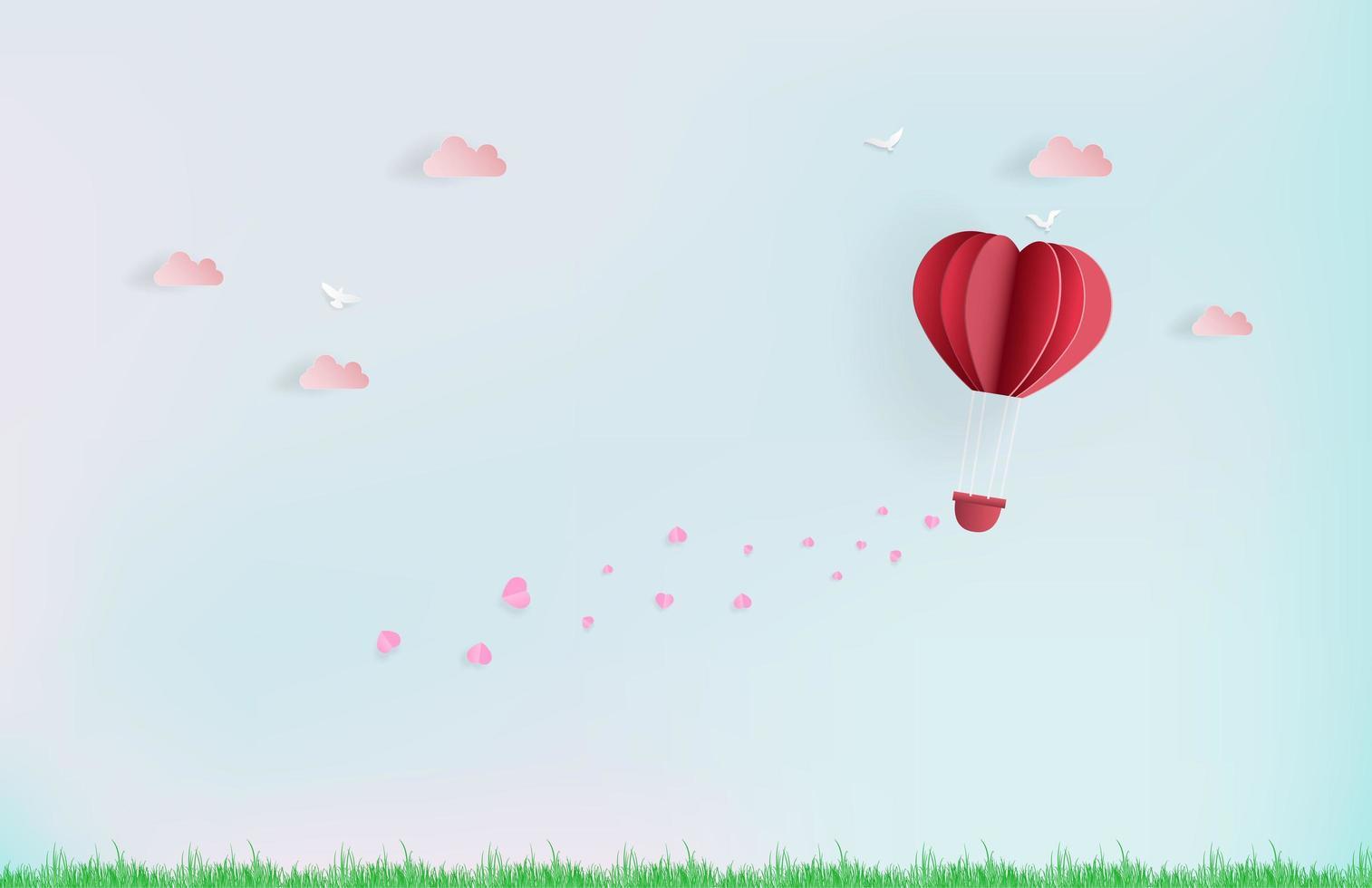 balão voando no céu com corações rosa e nuvens vetor