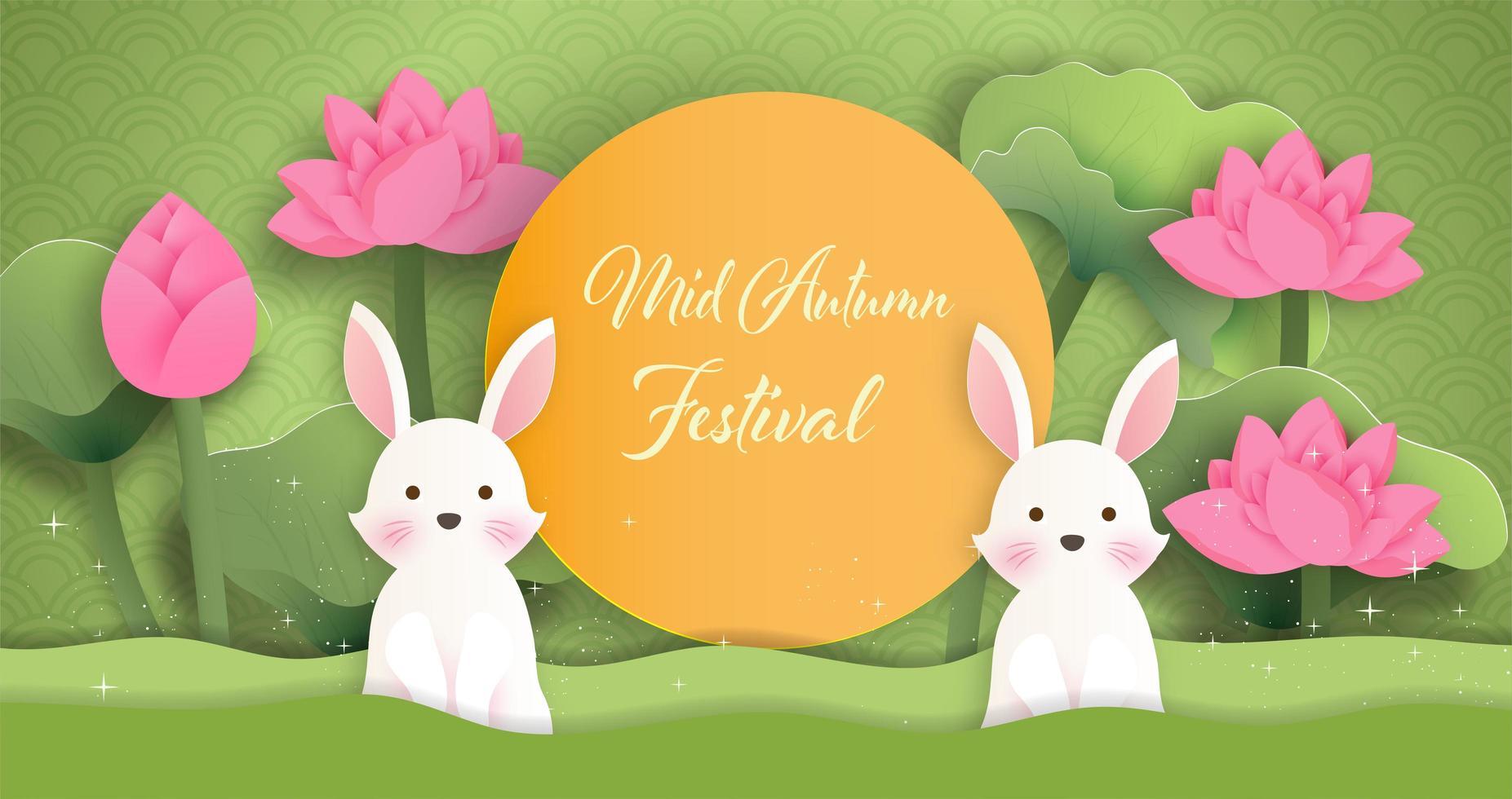 banner festival de meados do outono com coelhos no jardim vetor