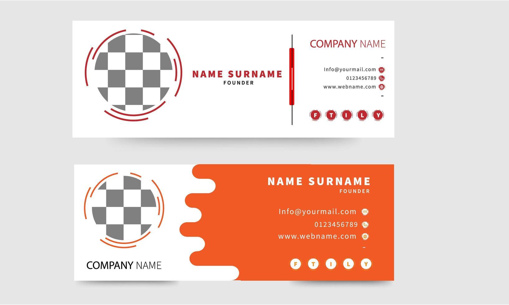 conjunto de assinatura de e-mail vermelho e laranja em branco vetor