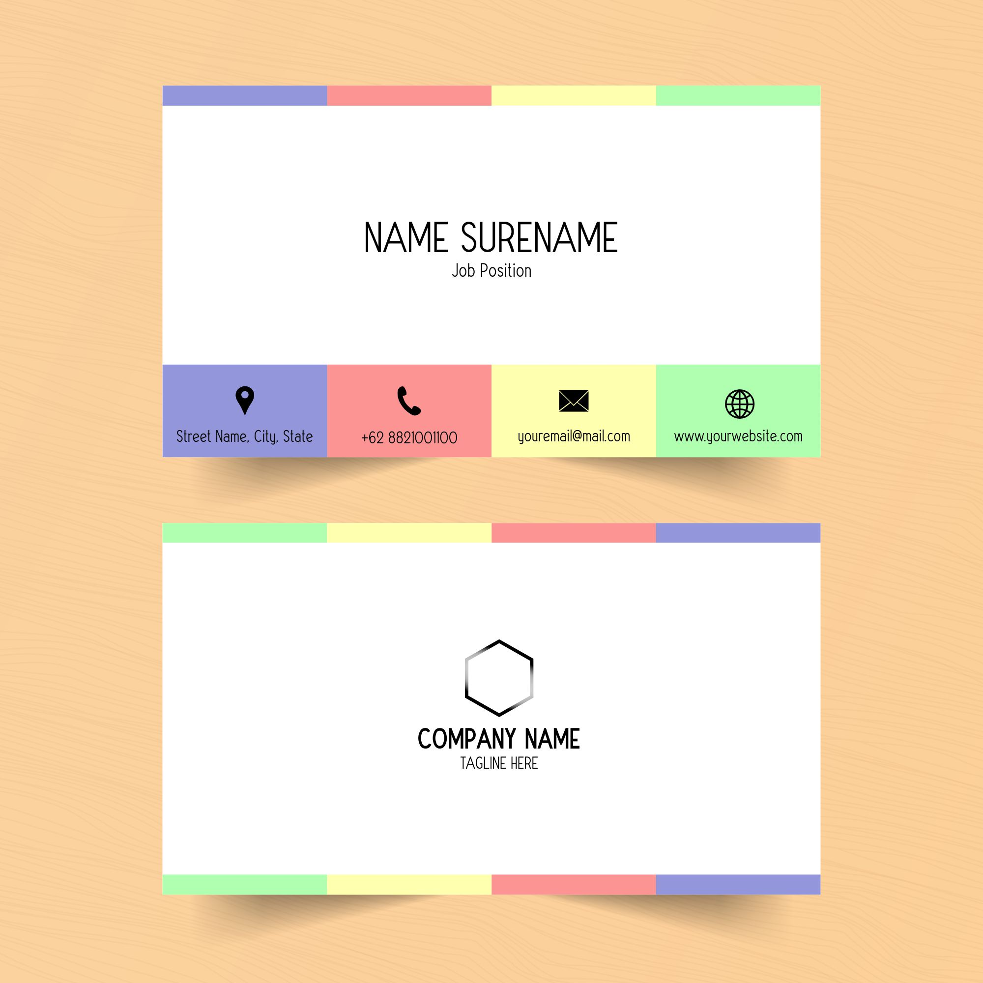 colorful section name card template  download free
