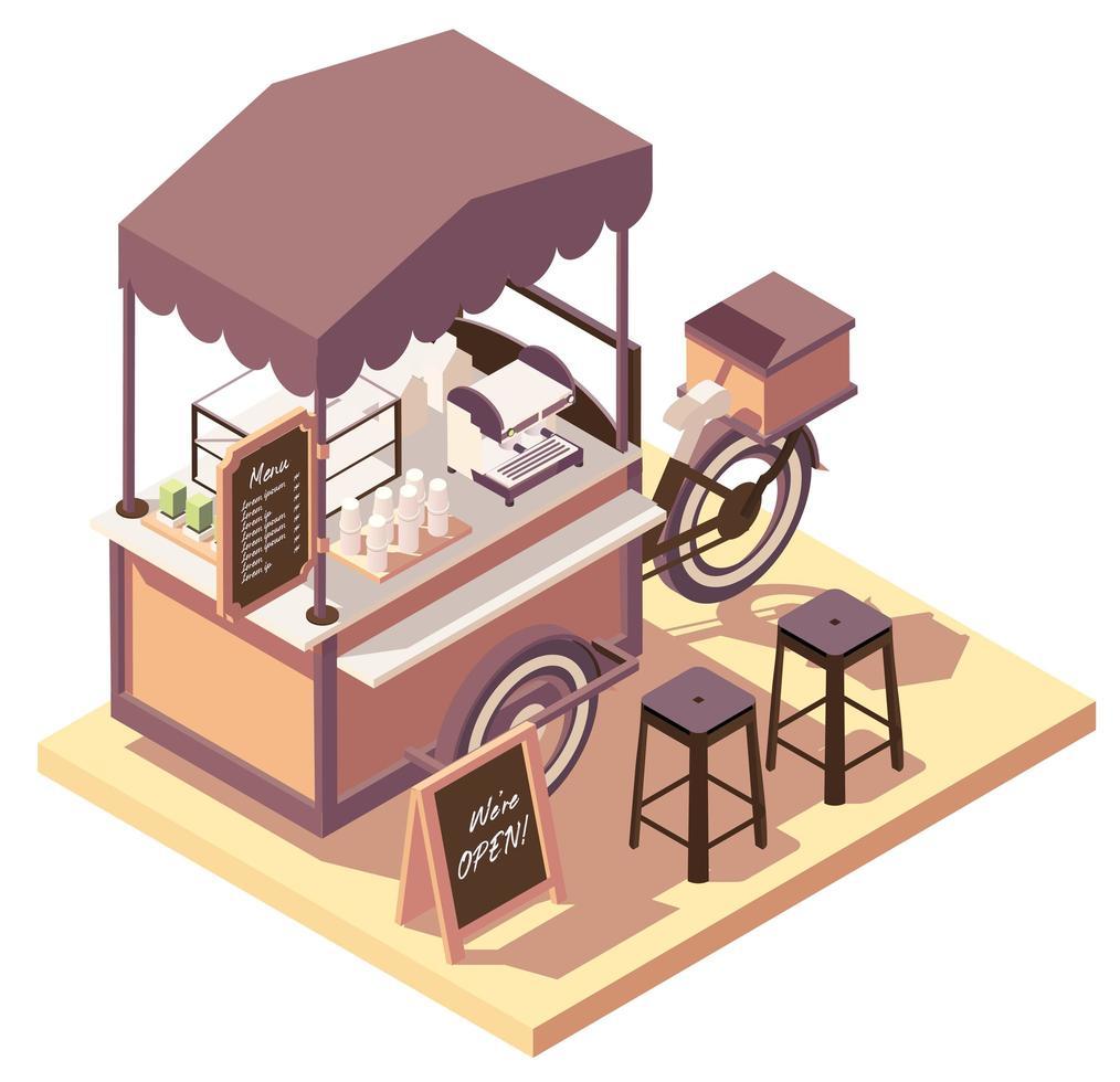 Isometric coffee cart bicycle vector