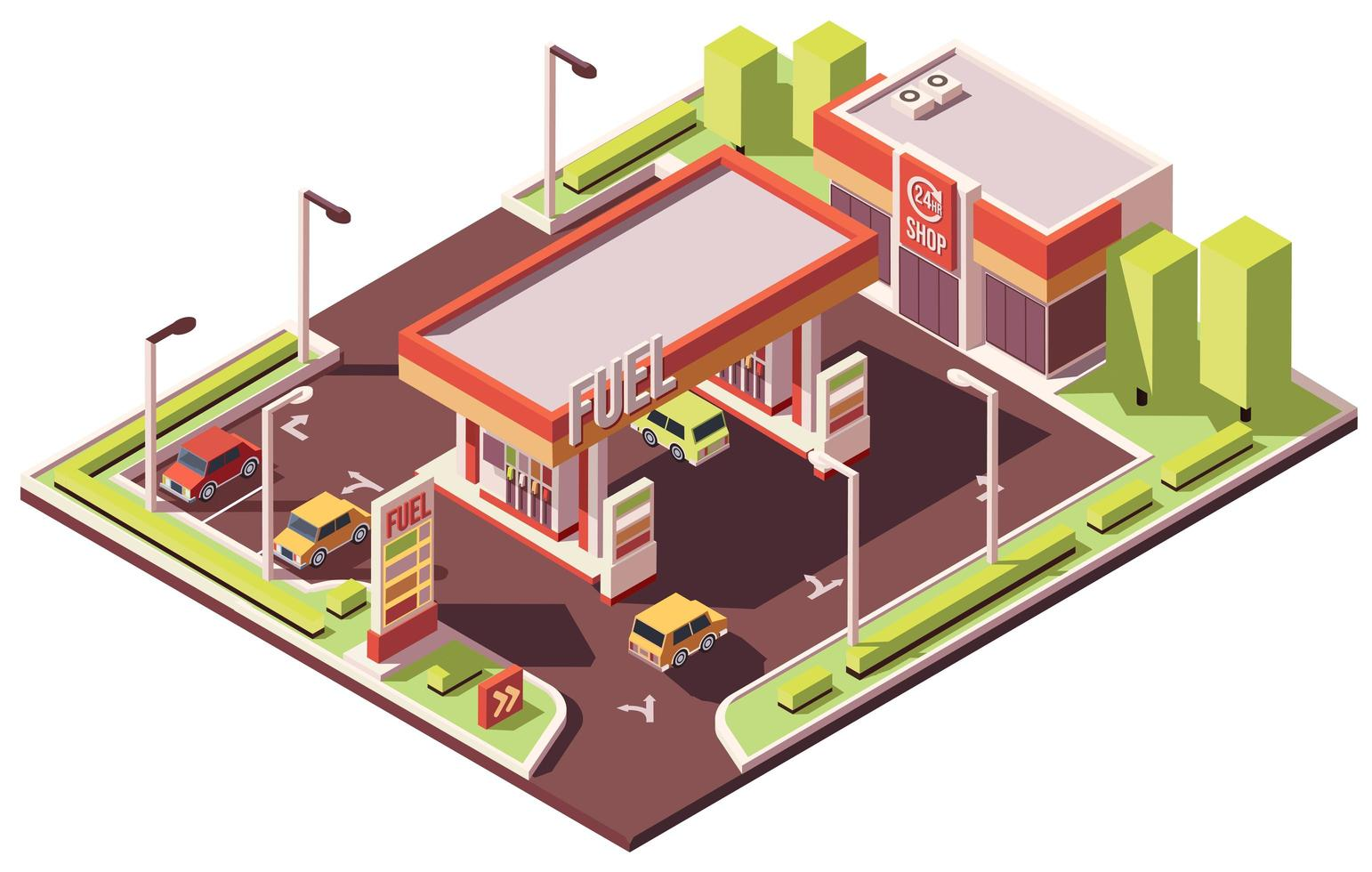 Gas station isometric composition vector