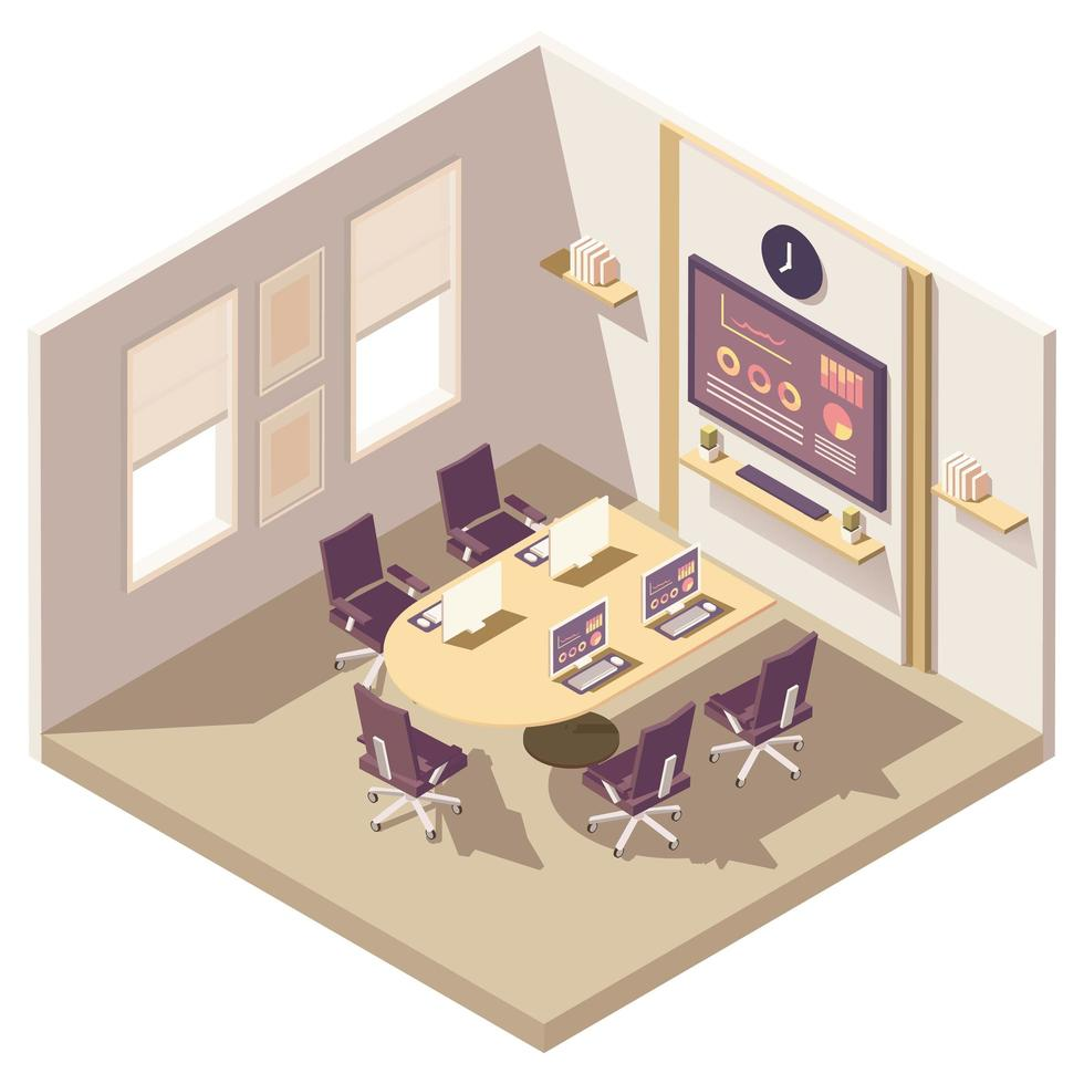 Meeting room isometric composition vector