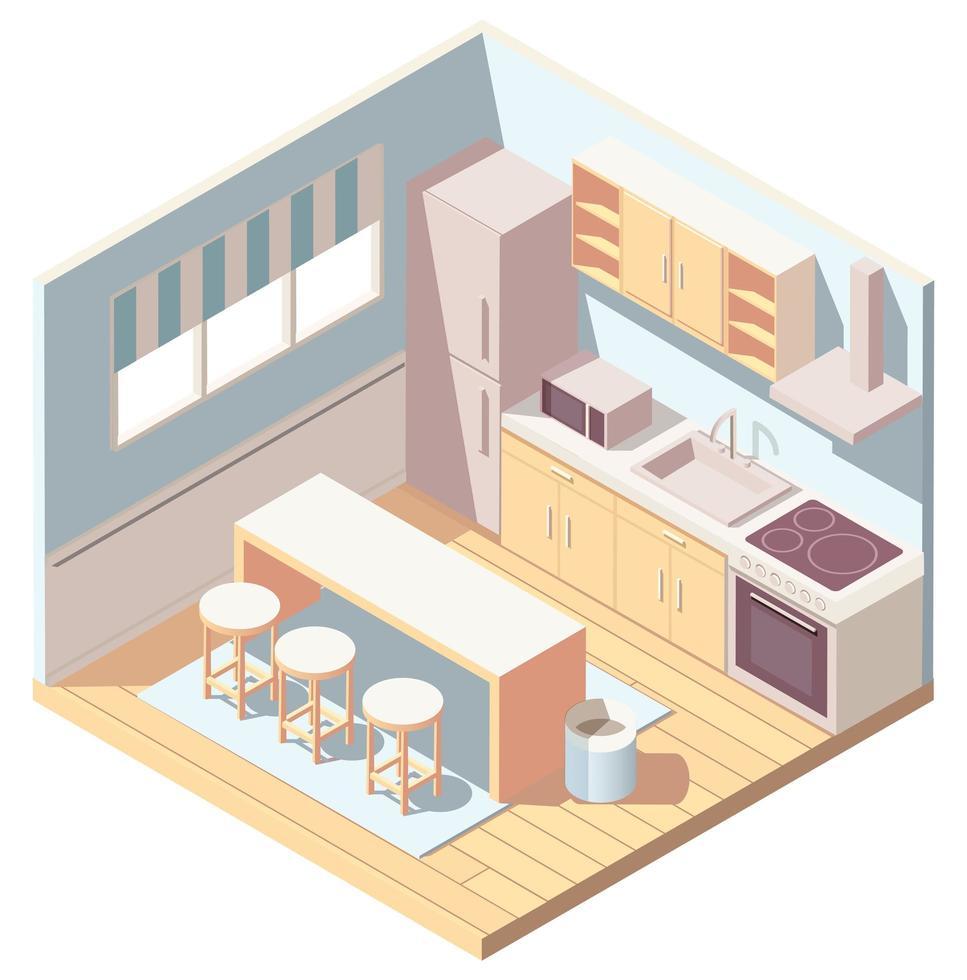 Isometric kitchen interior with kitchenware vector