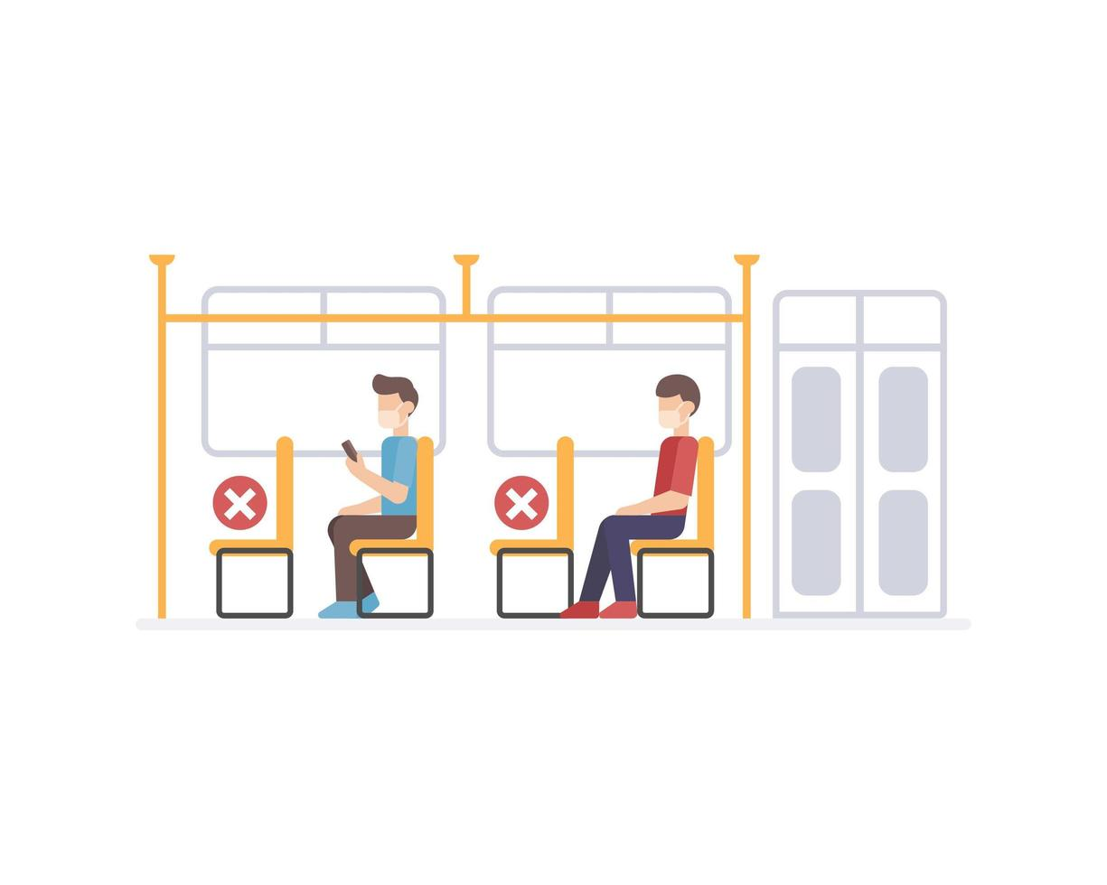 Social distance protocol in the public transportation vector