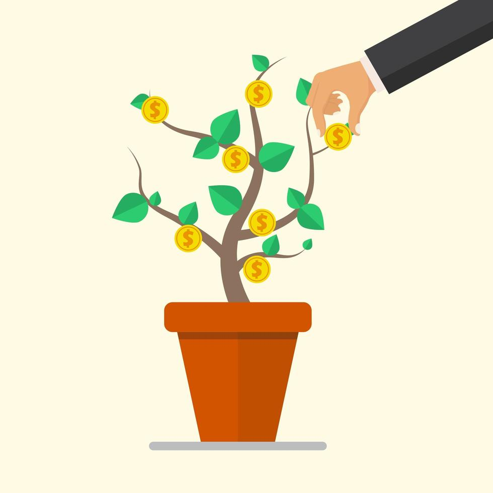 Hand picks a coin from money plant. vector